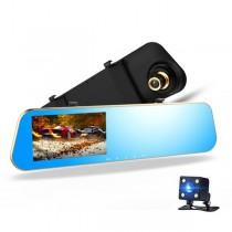 Елегантен Full HD видеорегистратор тип огледало с функция за нощно виждане и допълнителна втора камера